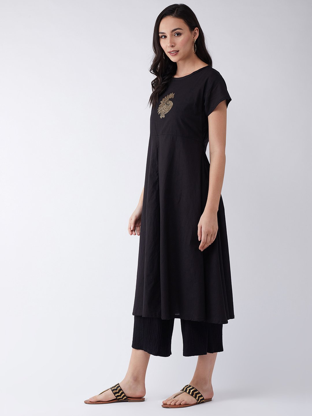 Block Printed Black Anarkali Kurta