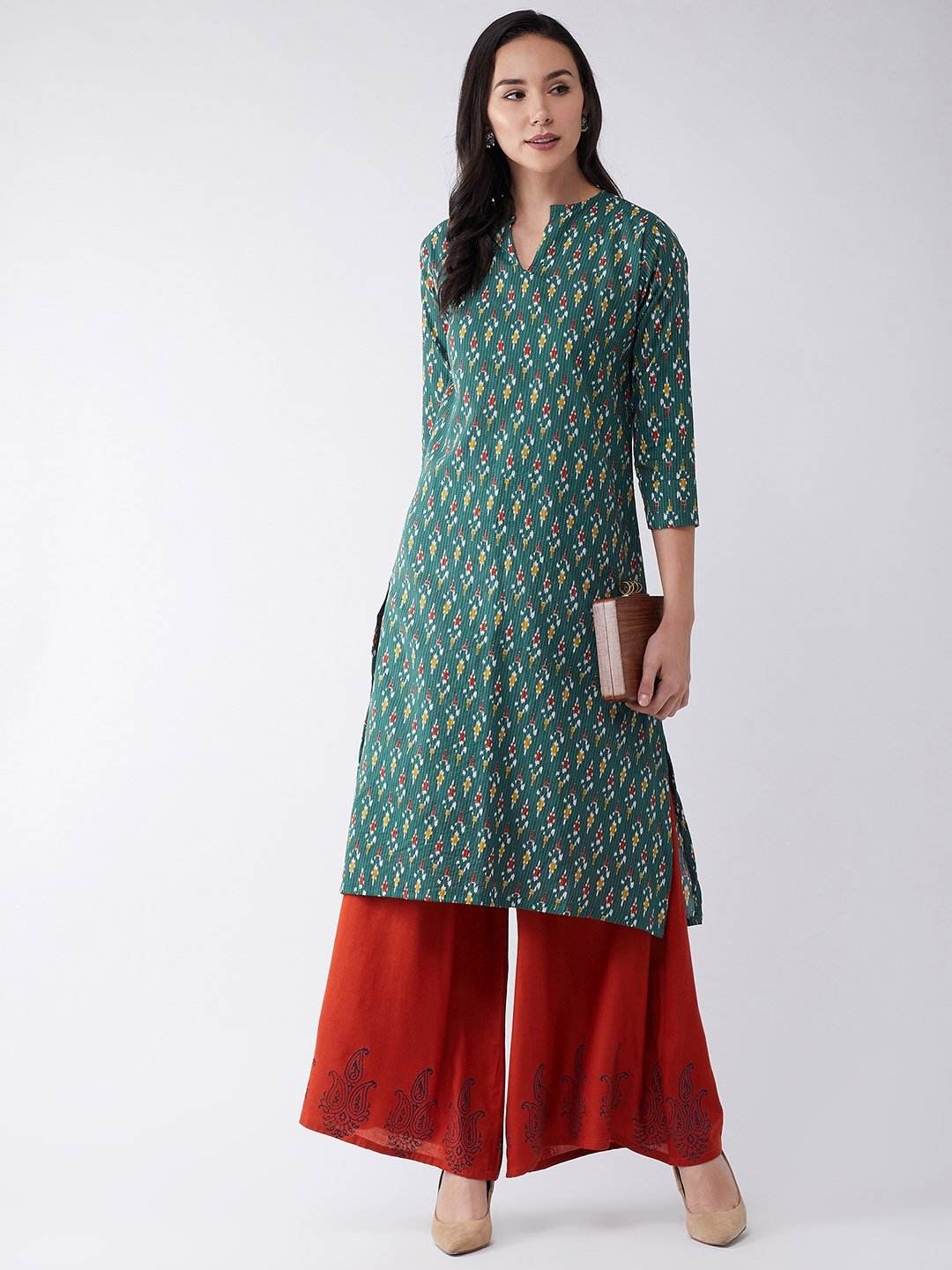 Kurta In Green Kantha Ikkat