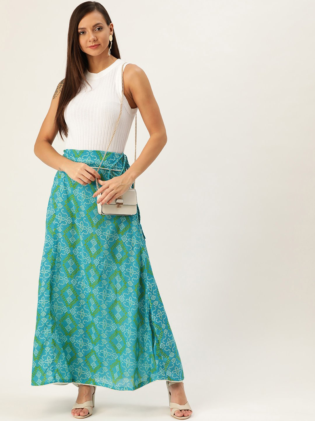 BLUE BANDHINI SKIRT