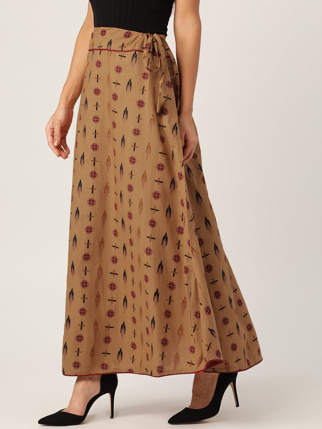 Brown Ikkat Print Skirt
