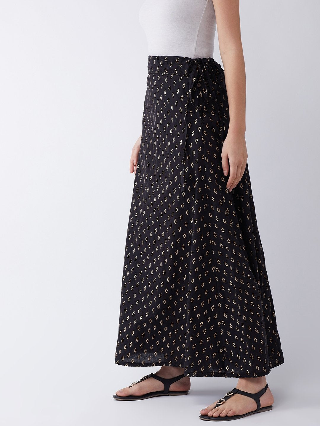 Black Gold Leaf Print Skirt