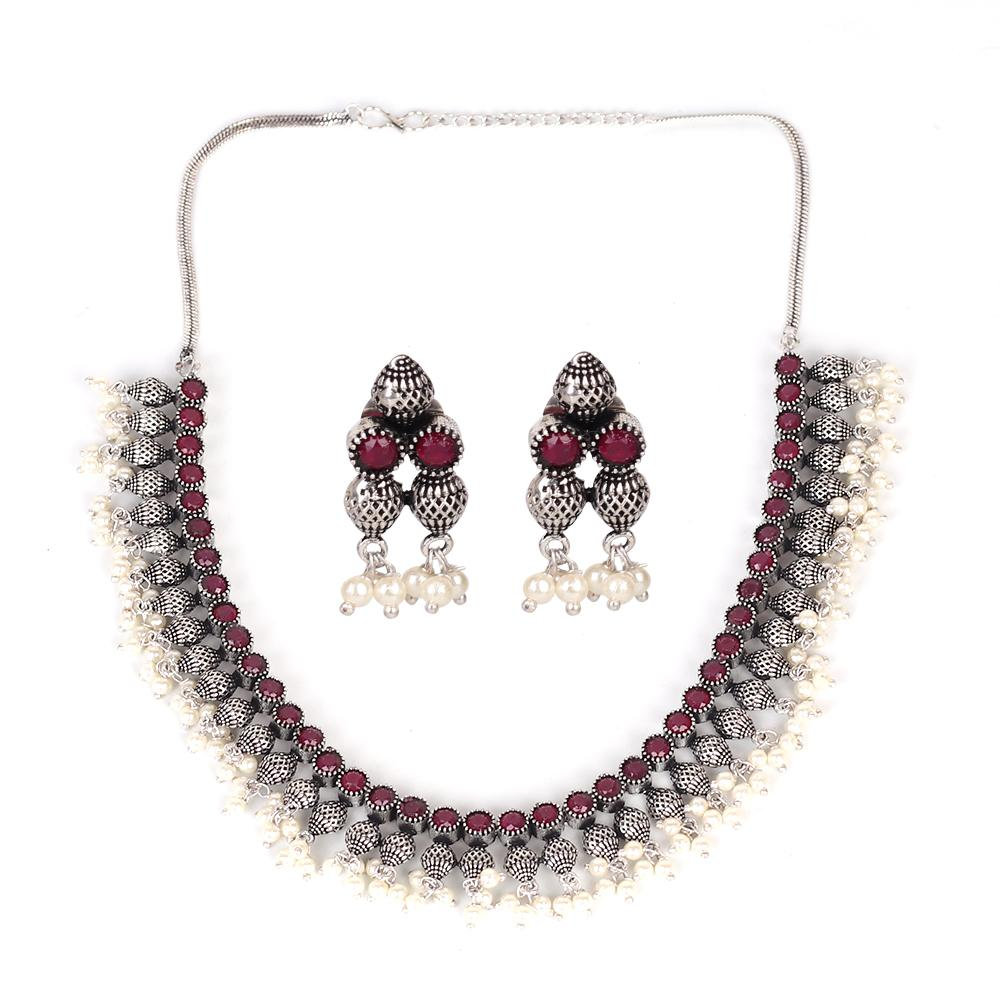 Maroon Stonework Necklace Set In German Silver With Beads