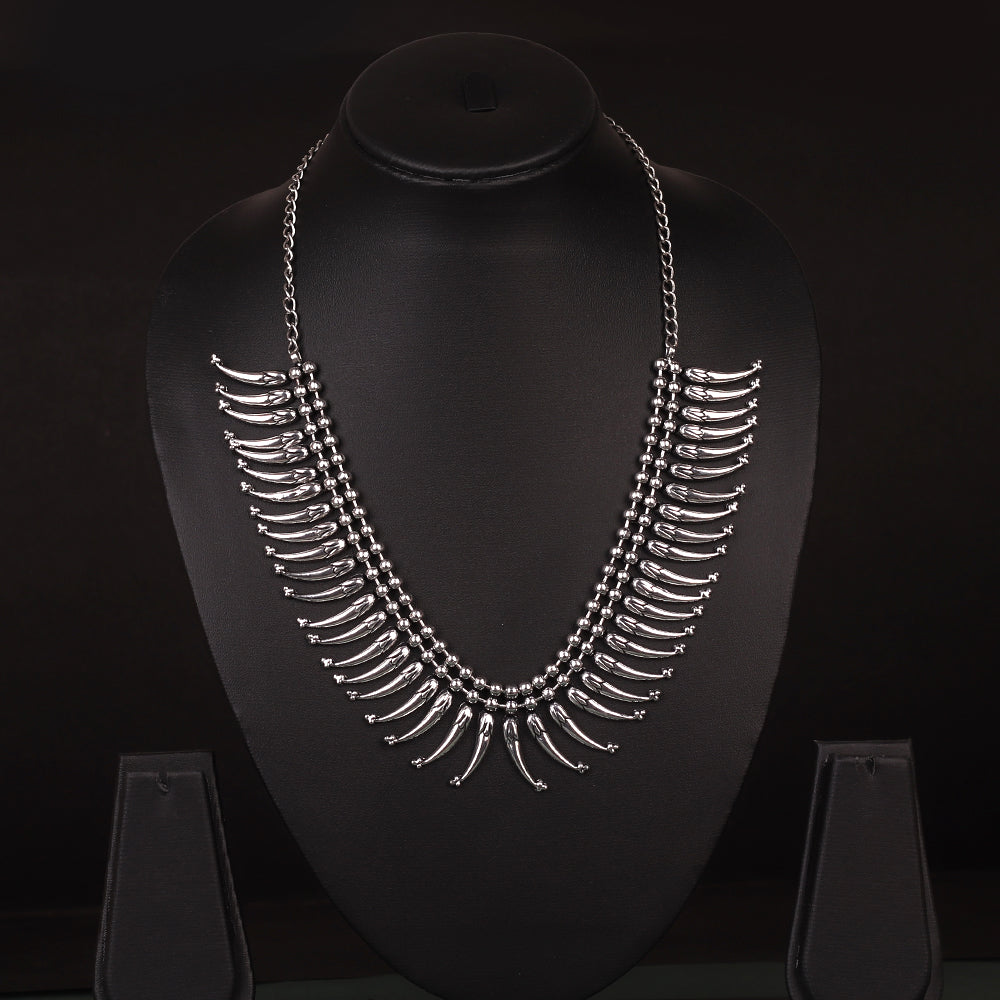 Oxidised Necklace Set With Hanging Motifs