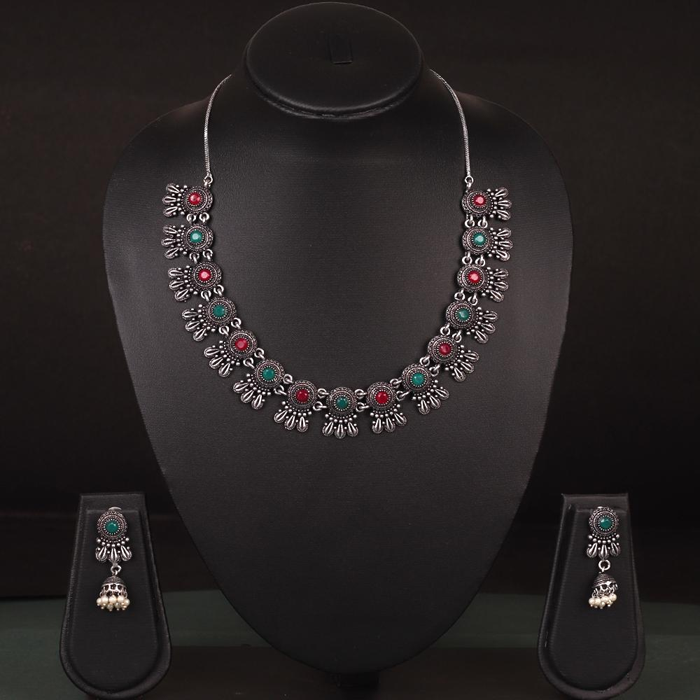 Floral Shape Stone Necklace Set