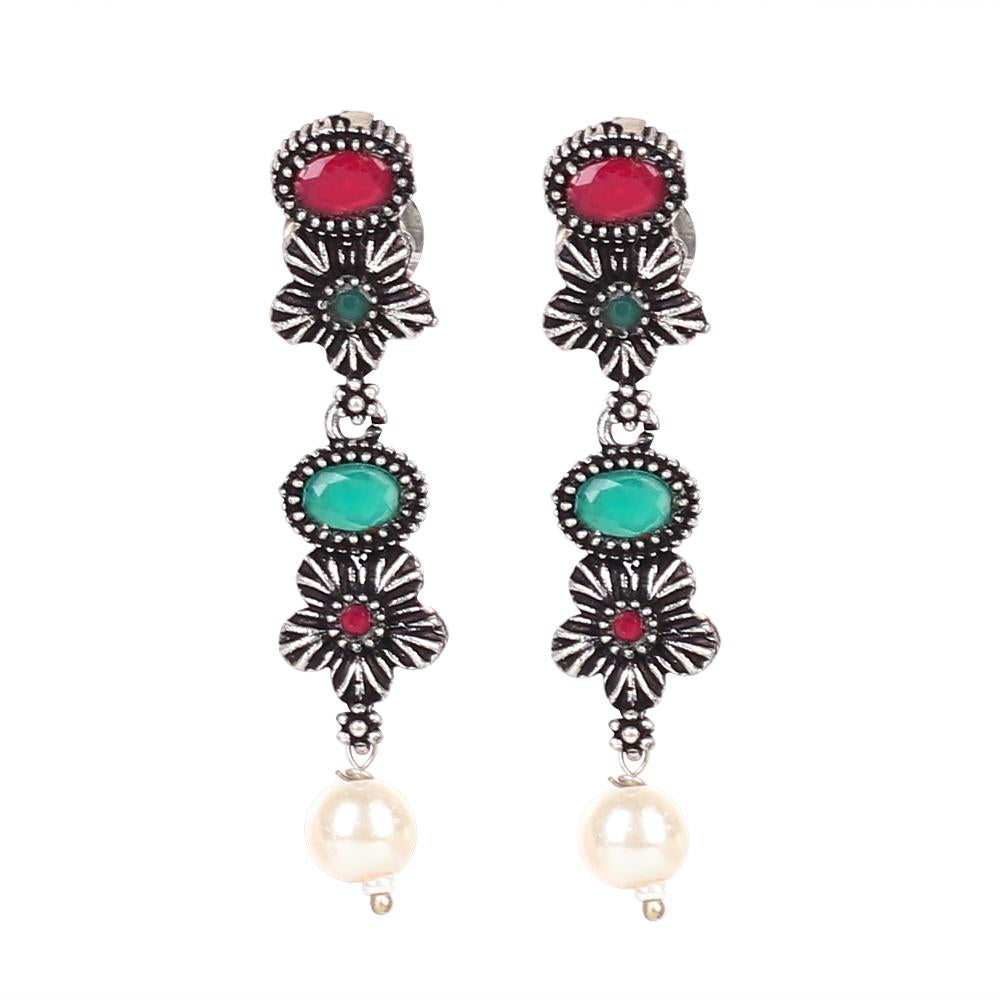 Intricate Stone Studded Oxidised Necklace Set In Red & Green