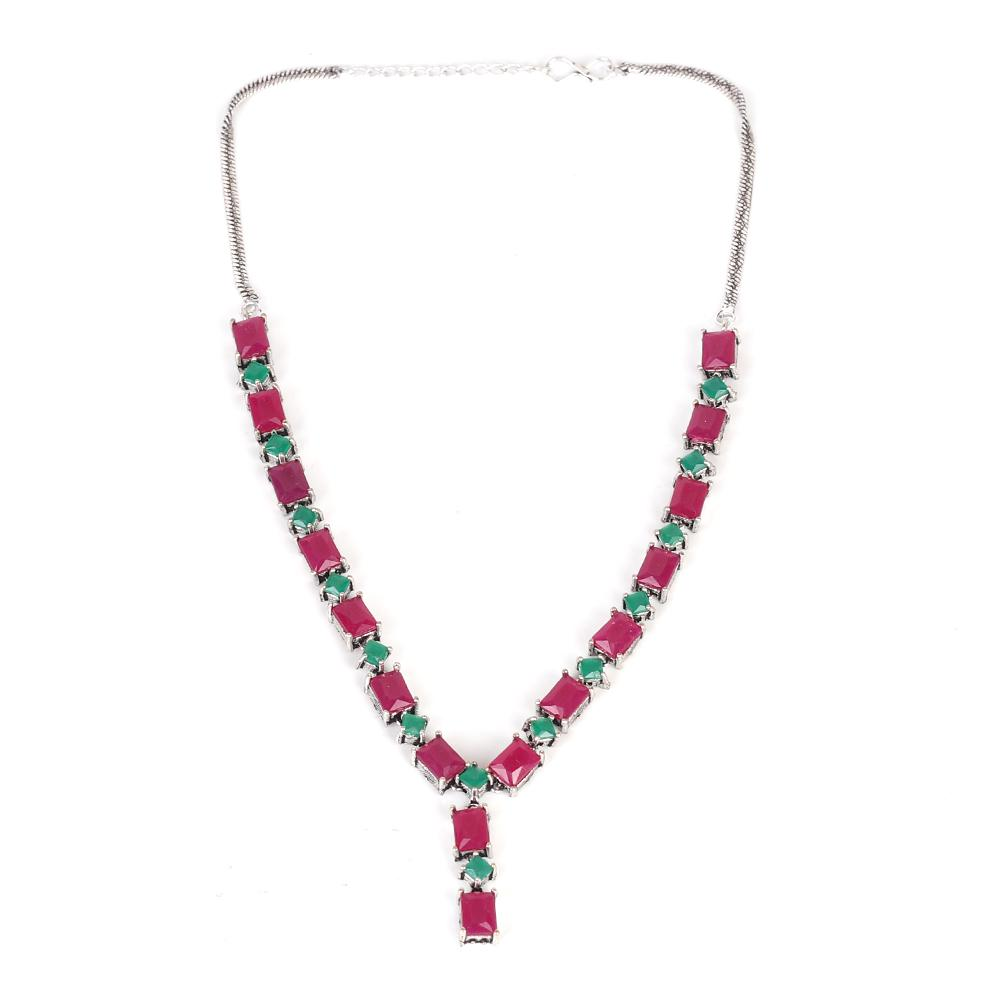 Oxidised Necklace Set In Red And Green