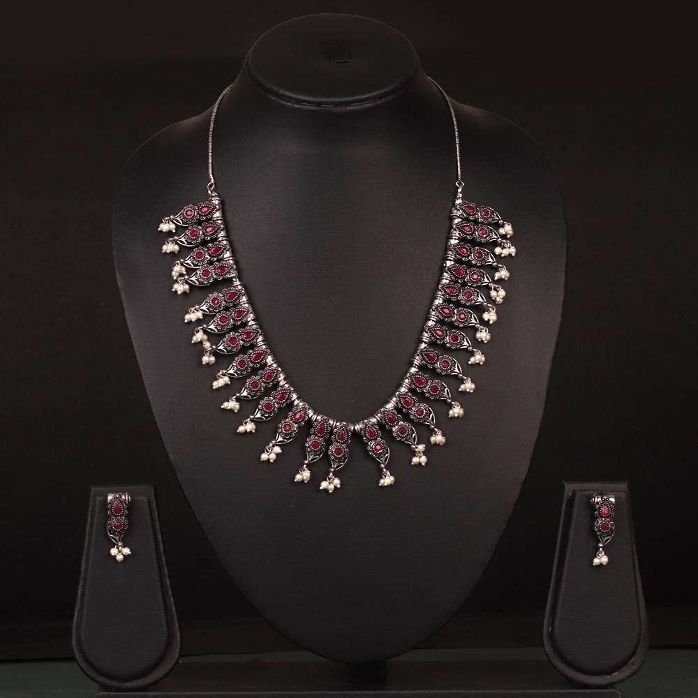 Maroon Studded German Silver Neckpiece Set