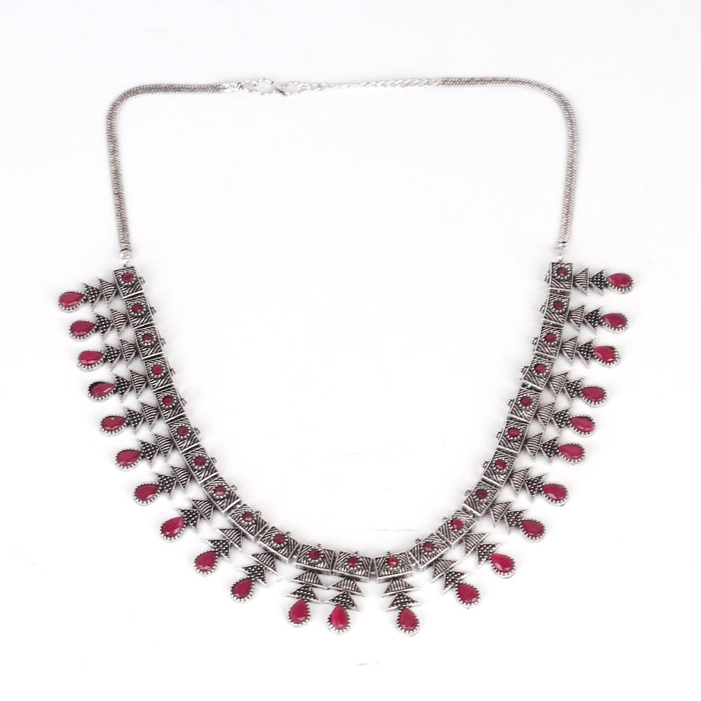 Deep Red Stone Studded Neckpiece Set In German Silver