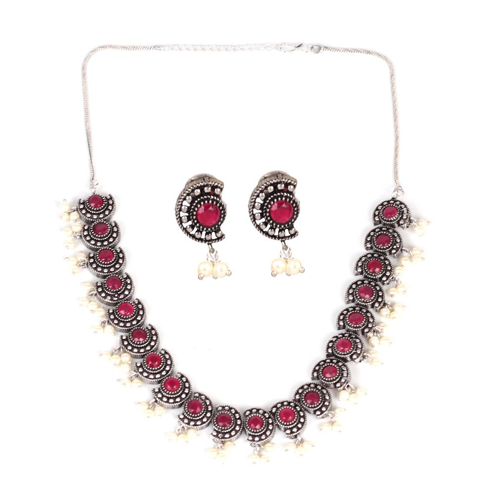 Delicate Oxidised Neckpiece Set With Maroon Stone Work
