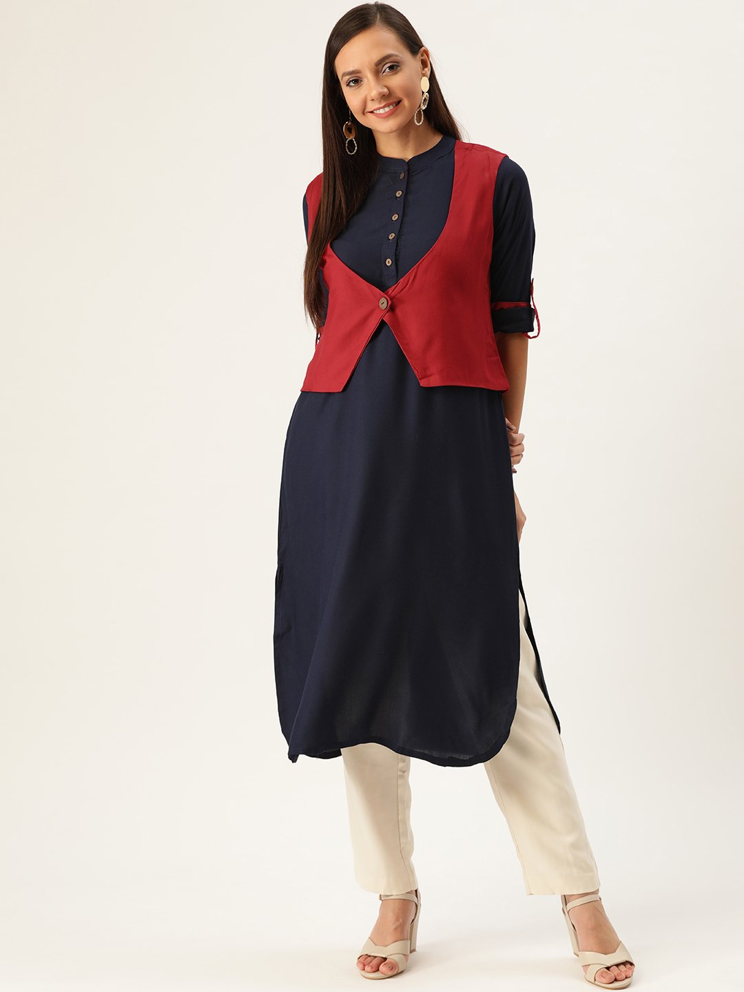 Blue Kurta Maroon Shrug