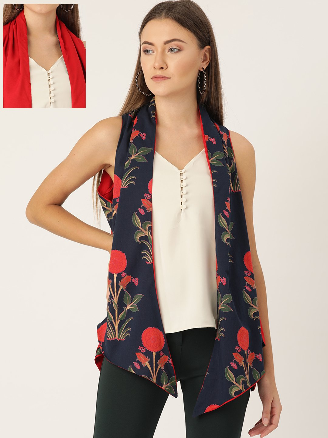 Reversible Shrug Navy Blue & Red