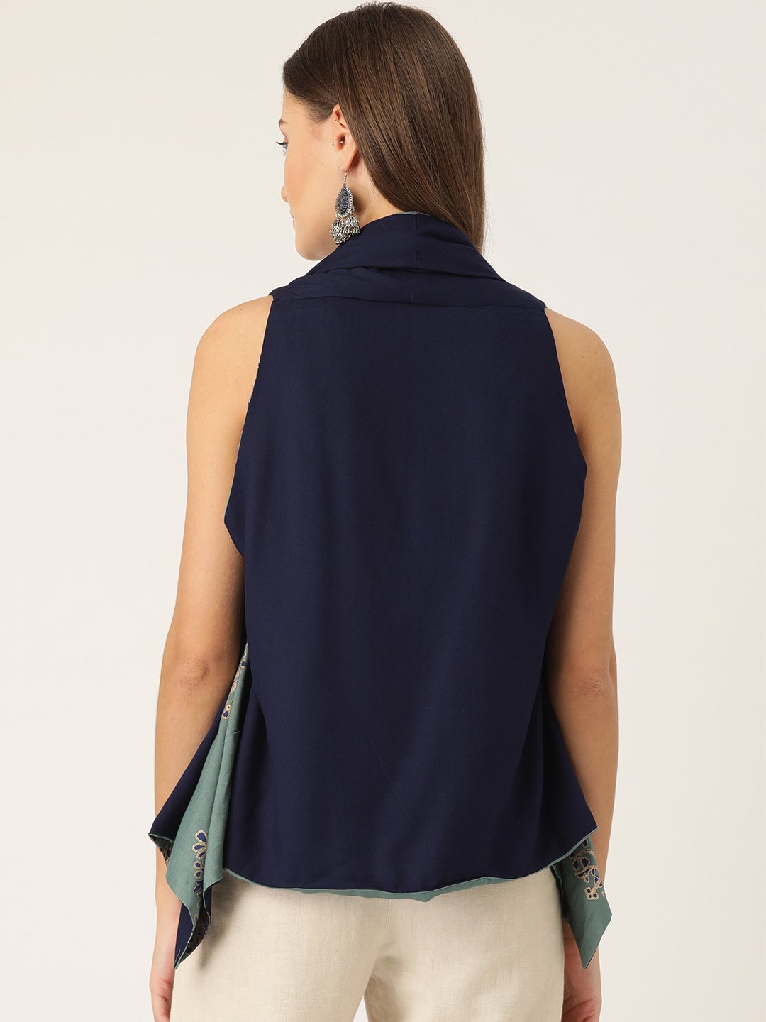 Reversible Shrug In Green And Navy Blue