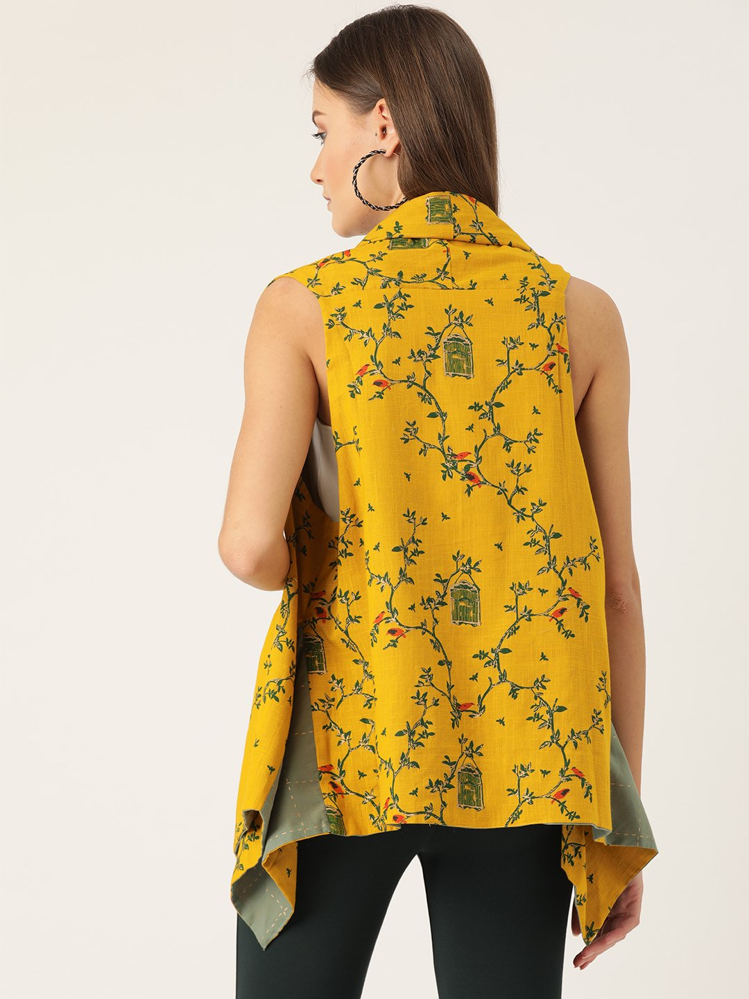 Reversible Shrug - Bird Print And Green