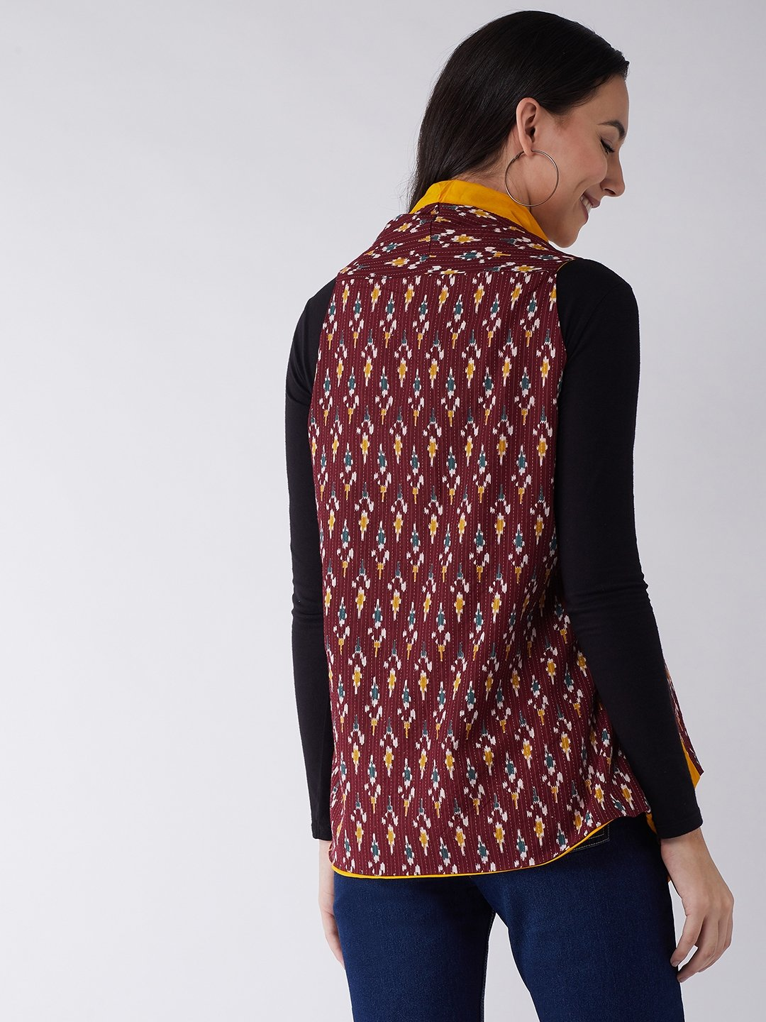 Brown Kantha Ikkat Reversible Shrug
