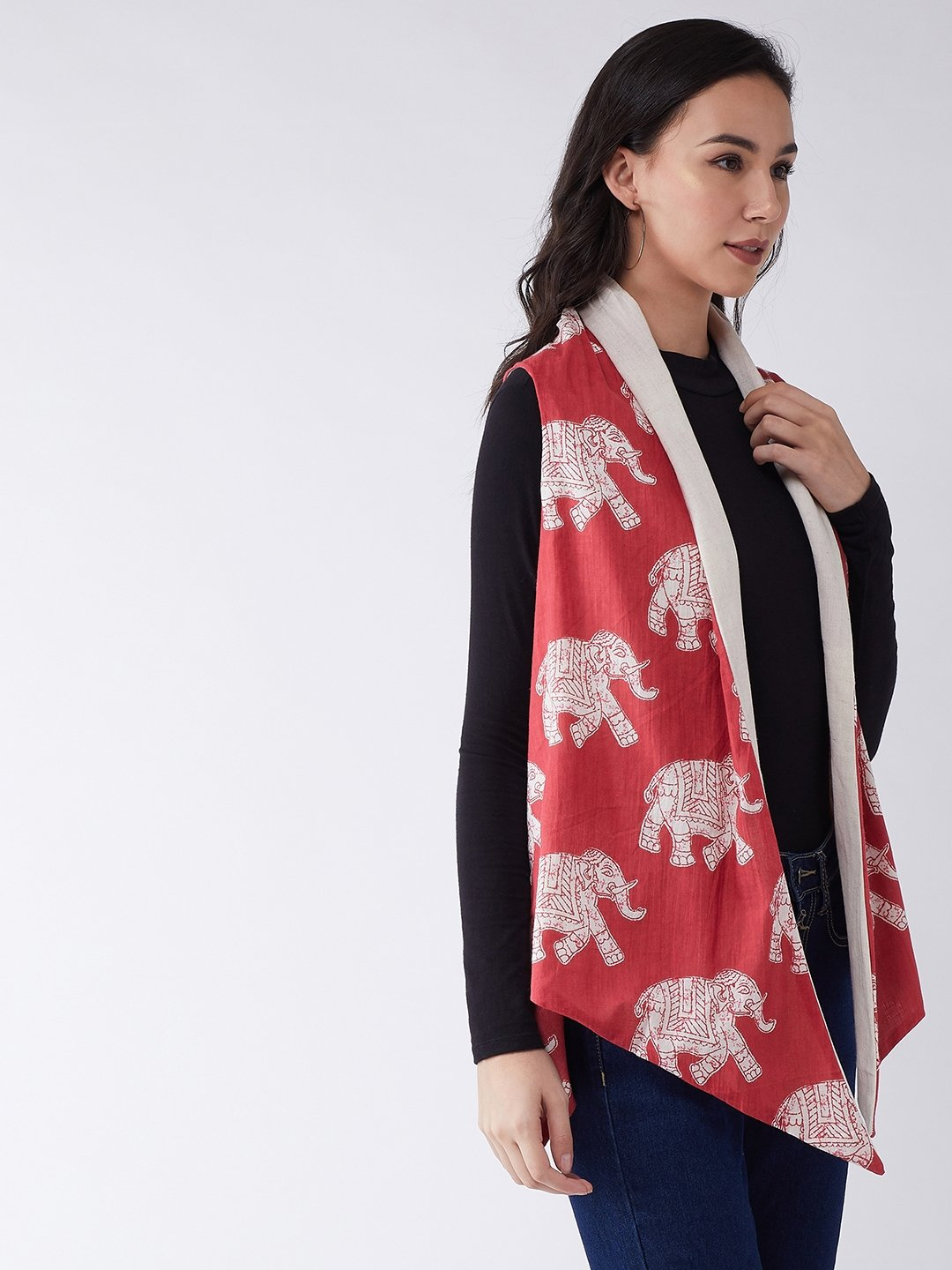 Red Elephant Reversible Shrug