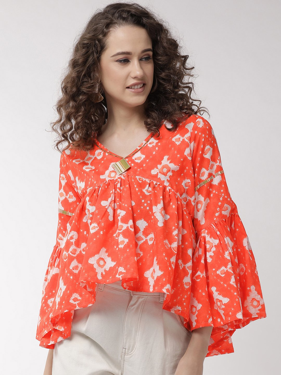 Orange Abstract Top