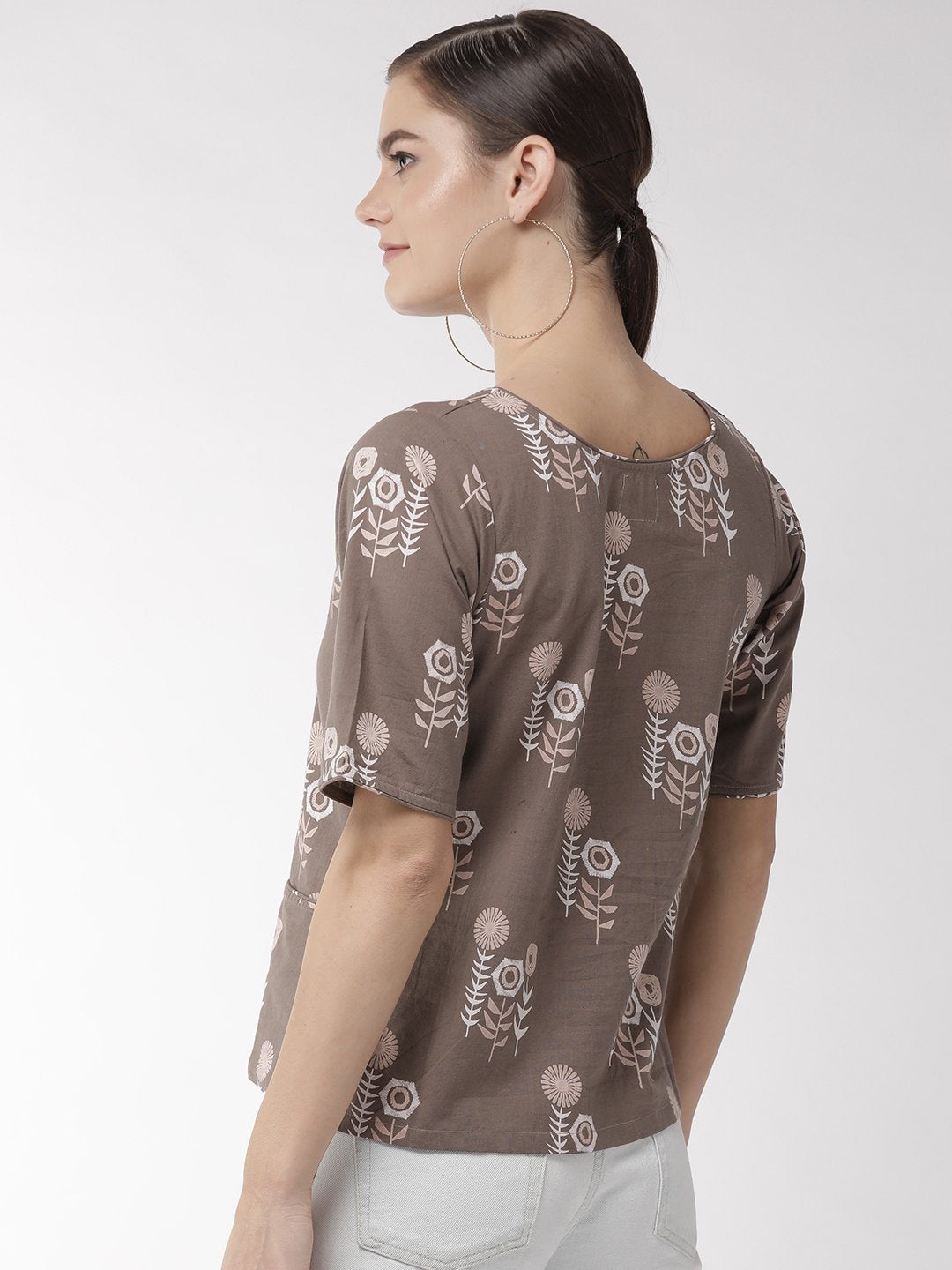 Coffee Brown Floral Top