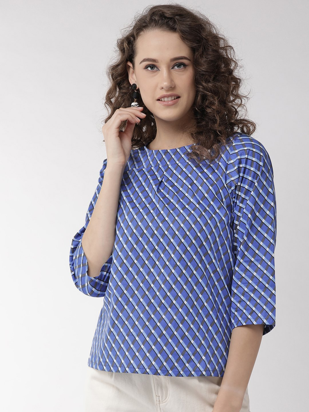 Blue Criss Cross Stripes Top