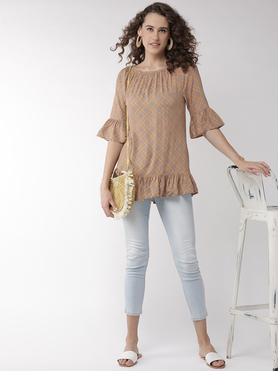 Coffee Brown Off Shoulder Top