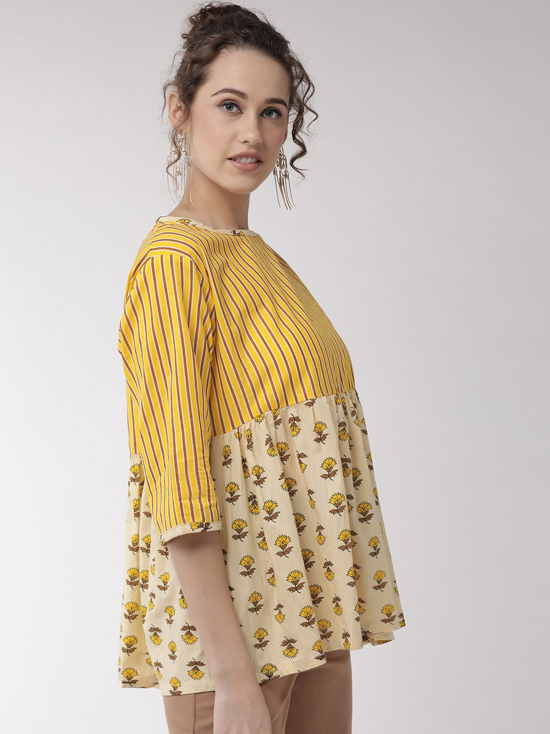 Yellow Stripes Peplum Top