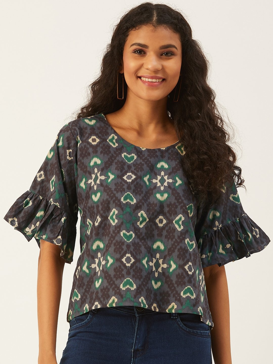 Grey-Green Top  With Frill Sleeve
