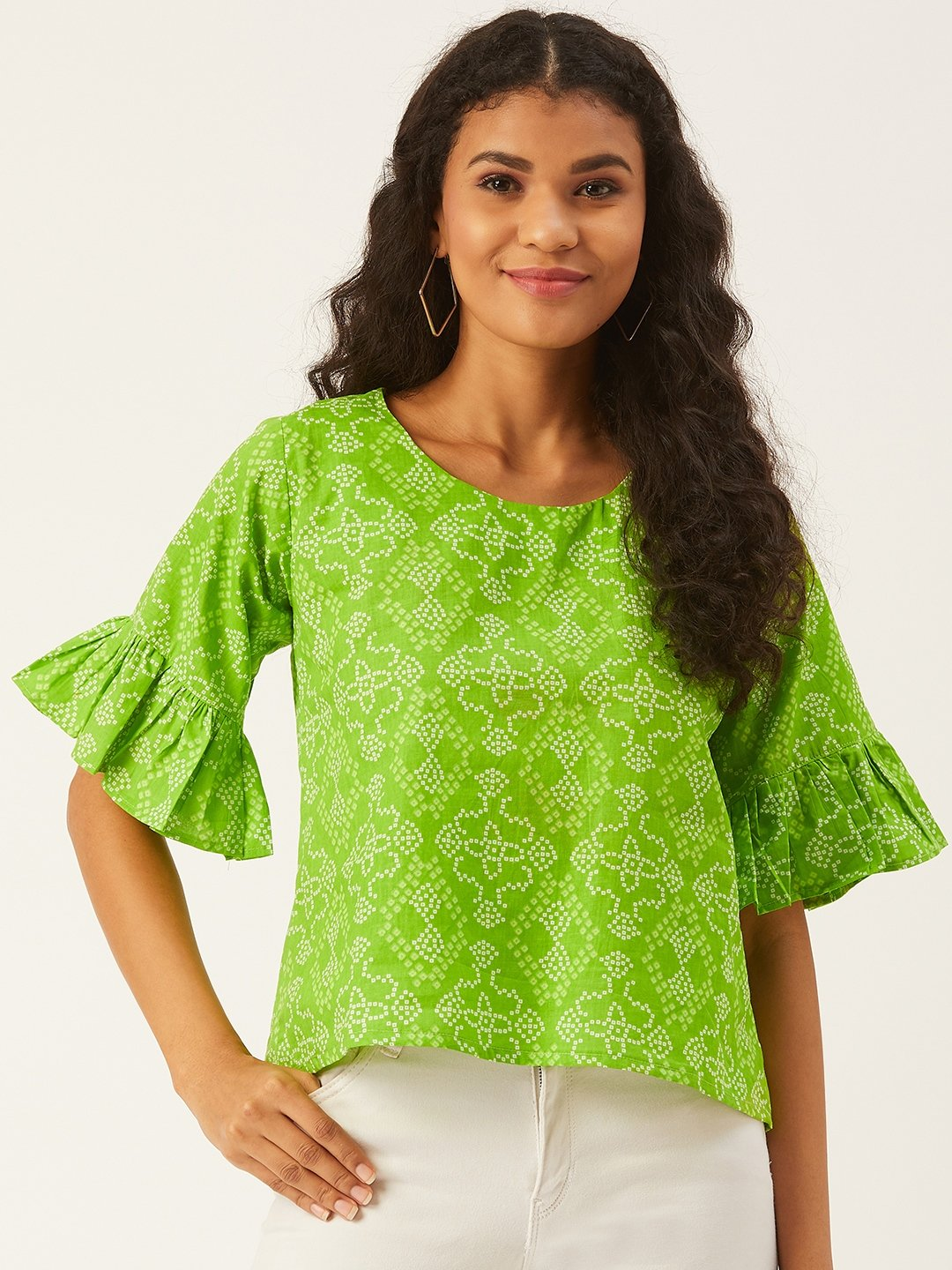 Green Bandhani Top With Frill Sleeve