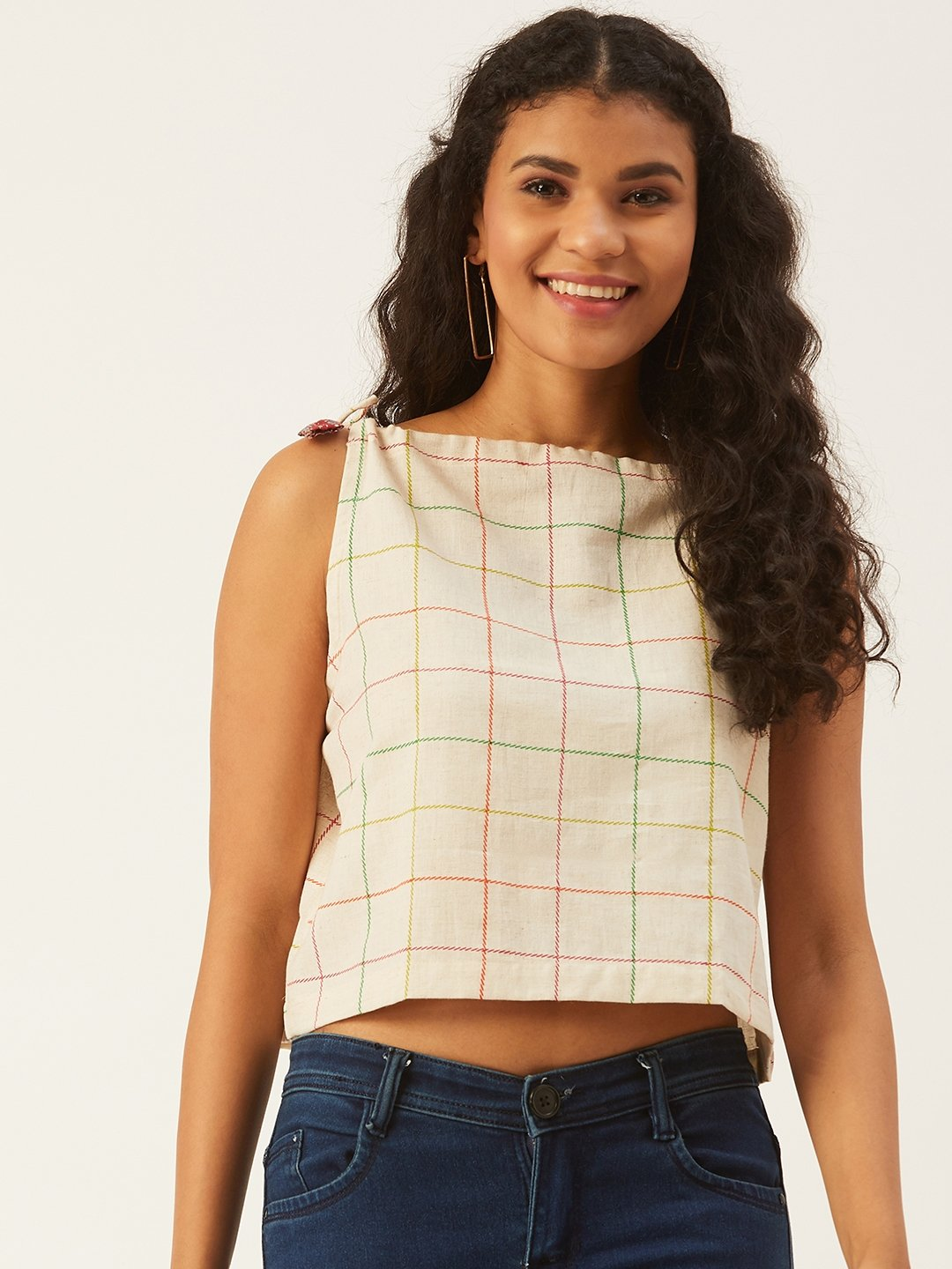 Off-White Check Halter Neck Top