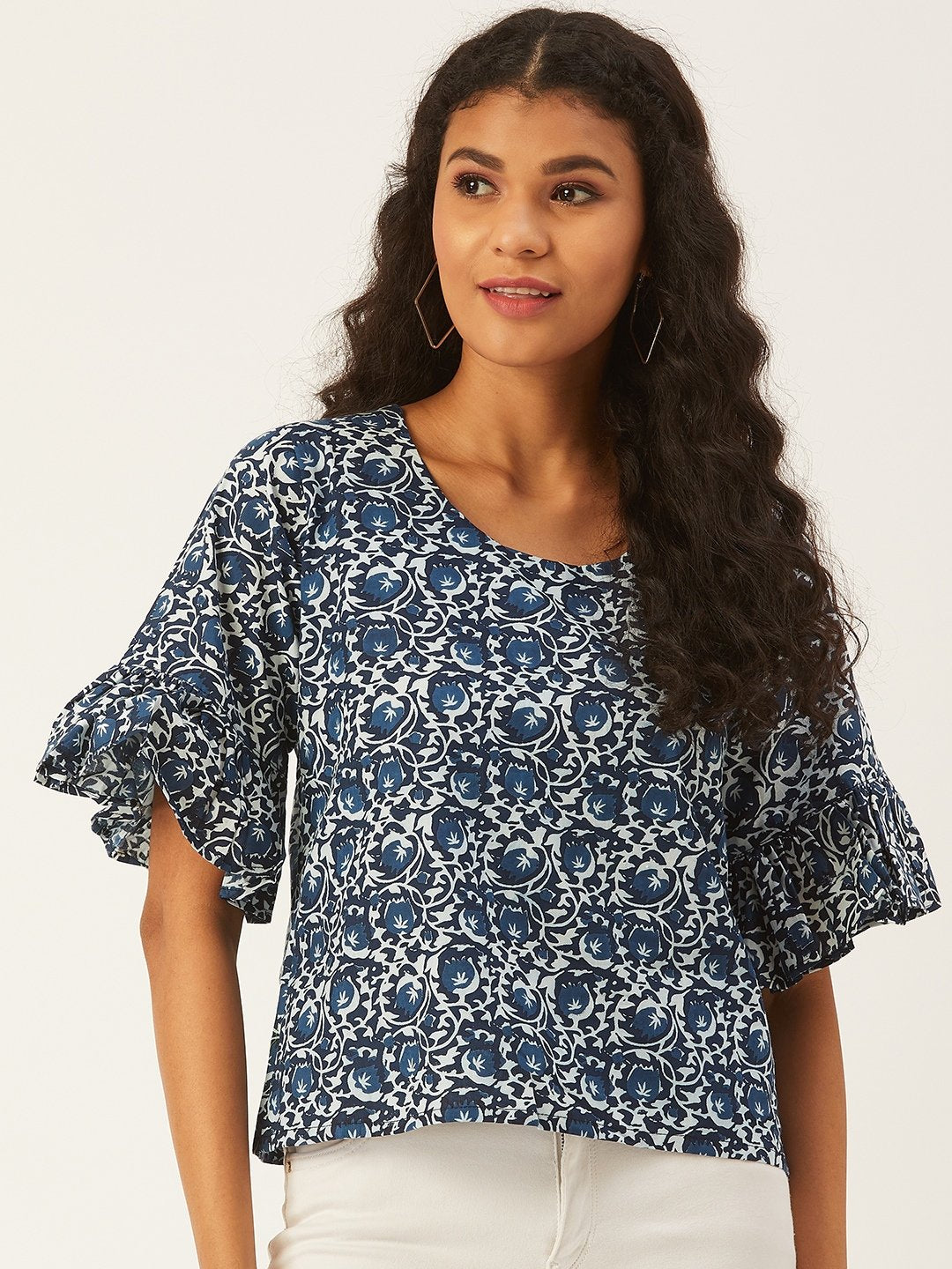 Blue Printed Top With Frill Sleeve