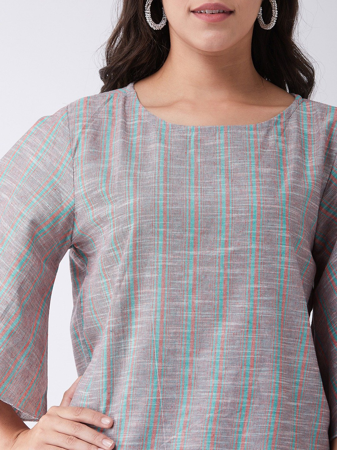 Pink And Green Stripes Handloom Top