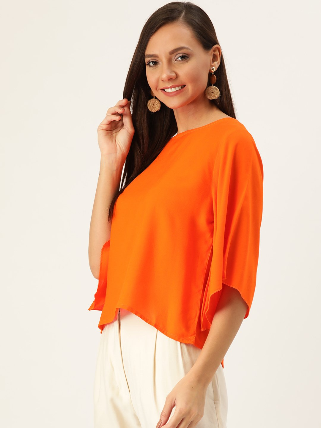Orange Top With  White Stole