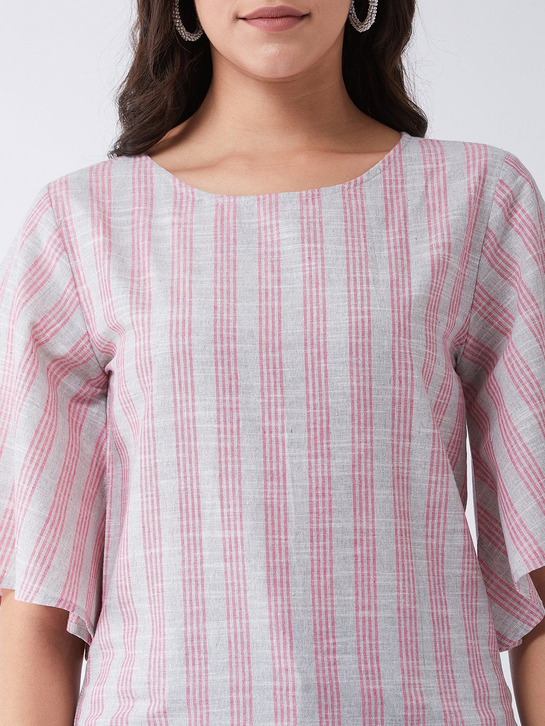 Gray And Pink Handloom Top