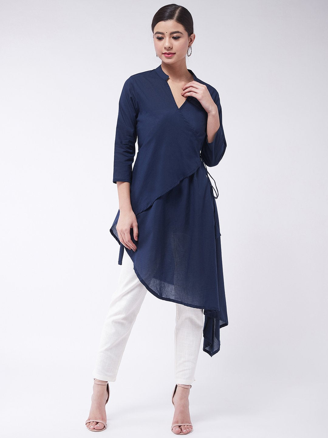 Navy Blue Asymmetric Top