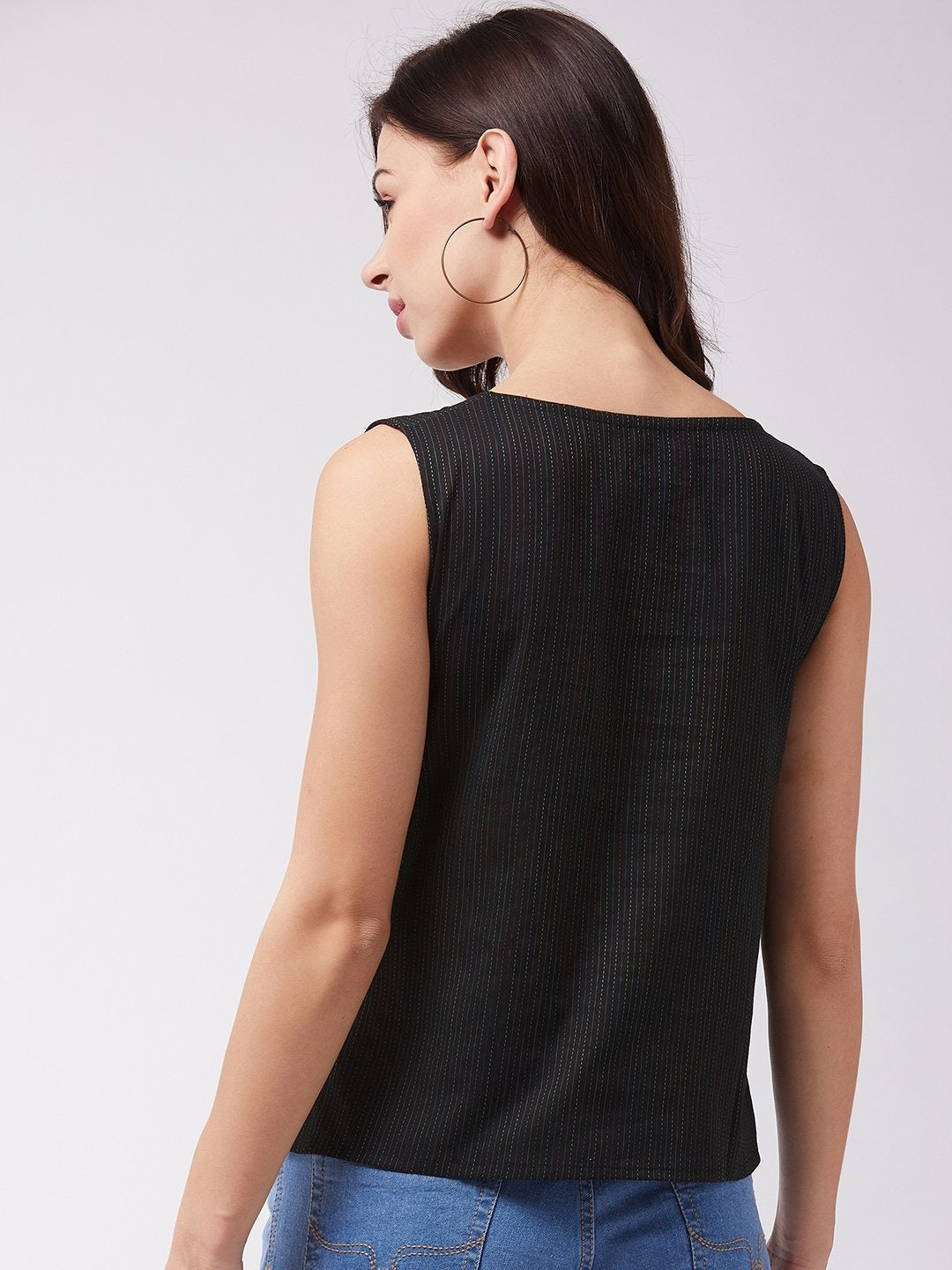 Black Kantha Sleeveless Top