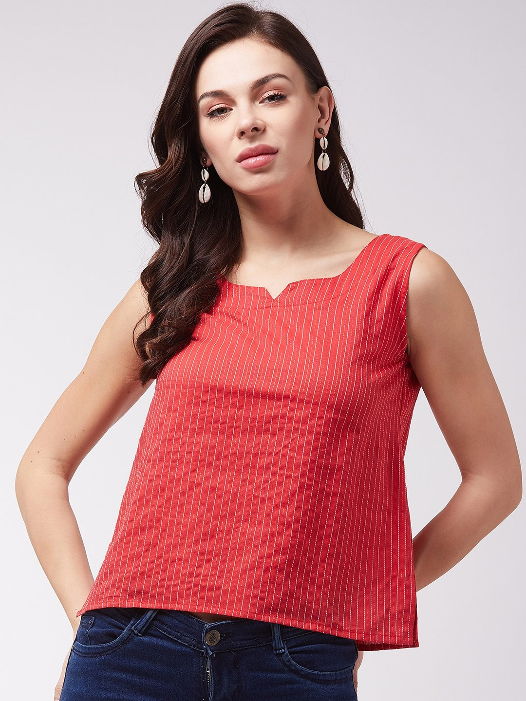 Red Kantha Sleveless Top