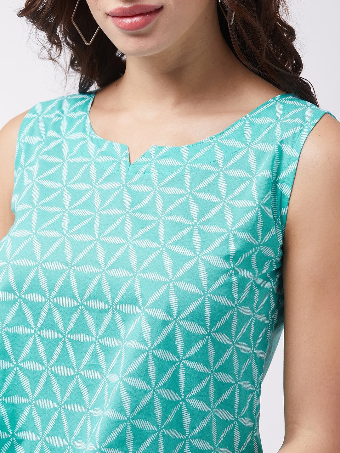 Turquoise Blue Sleeveless Top