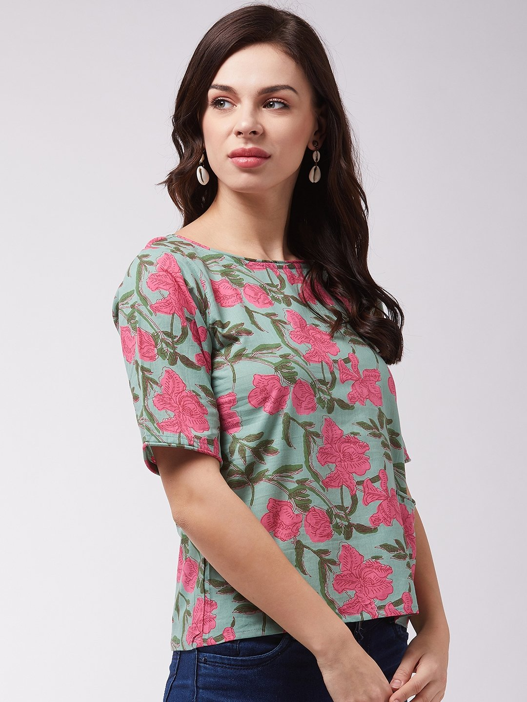 Green Pink Floral Top