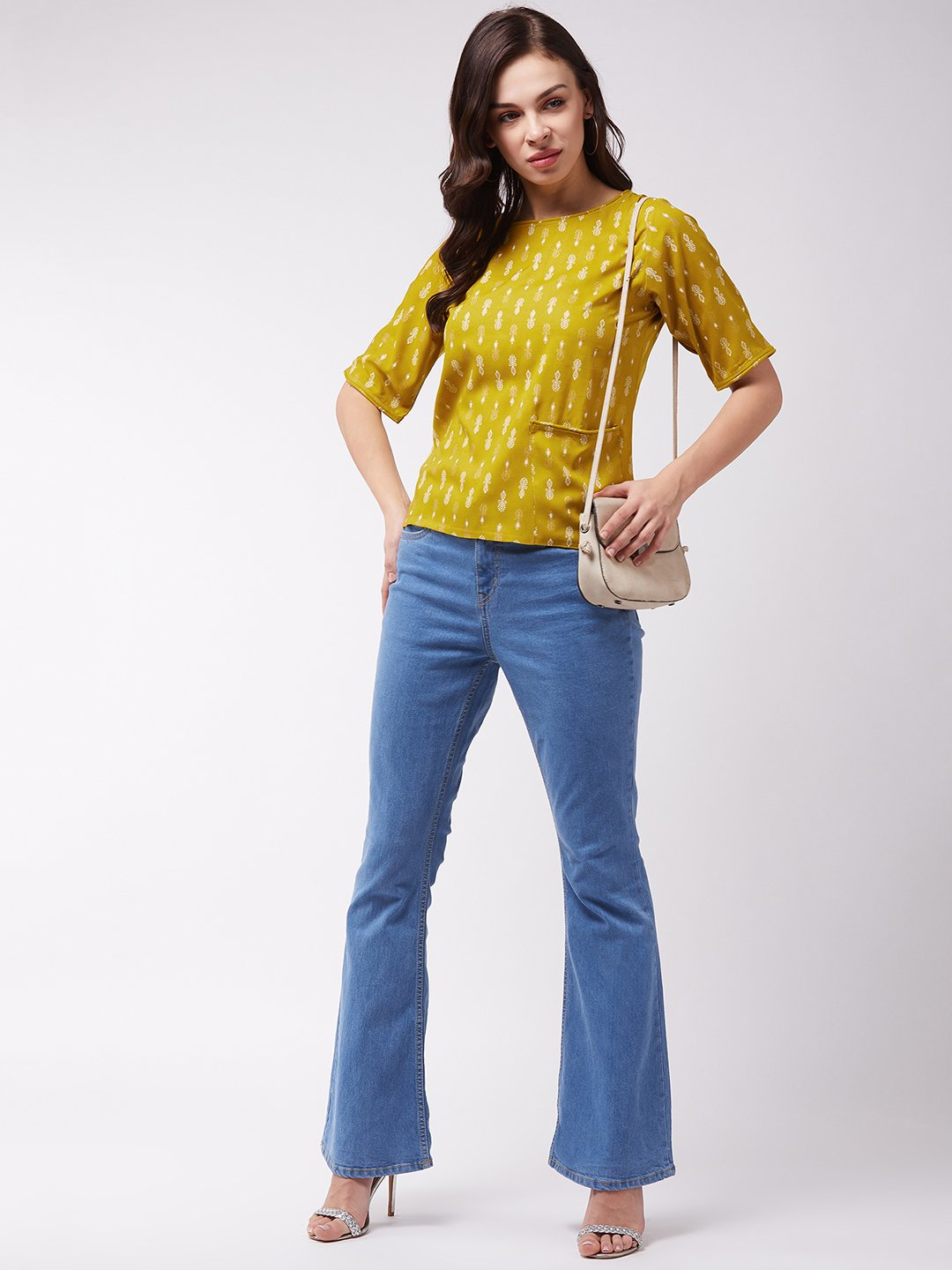 Mustard Khadi Work Top