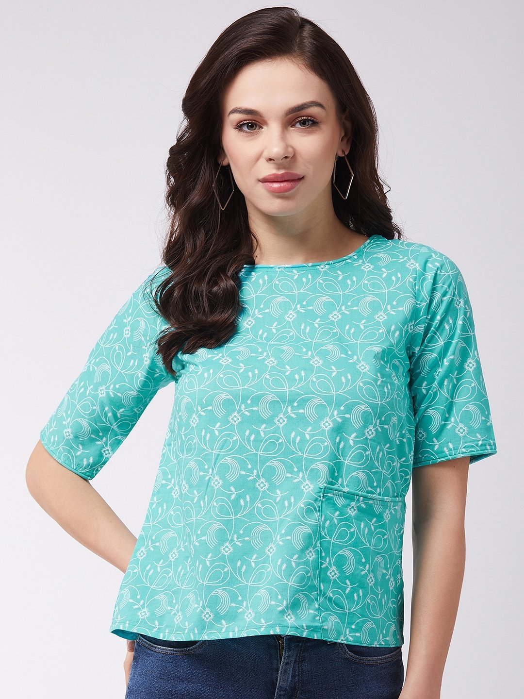 Turquoise Jaal Top Print
