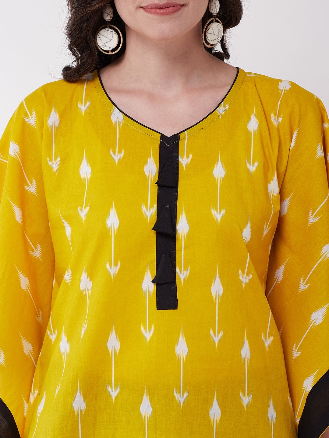 Yellow Arrow Kaftan Top