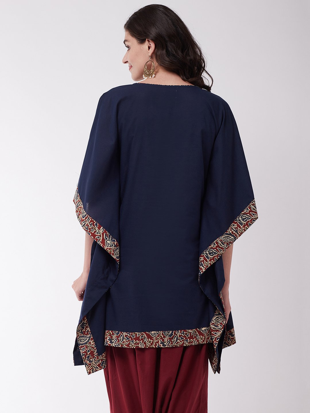 Navy Blue Kalamkari Border Kaftan Tunic