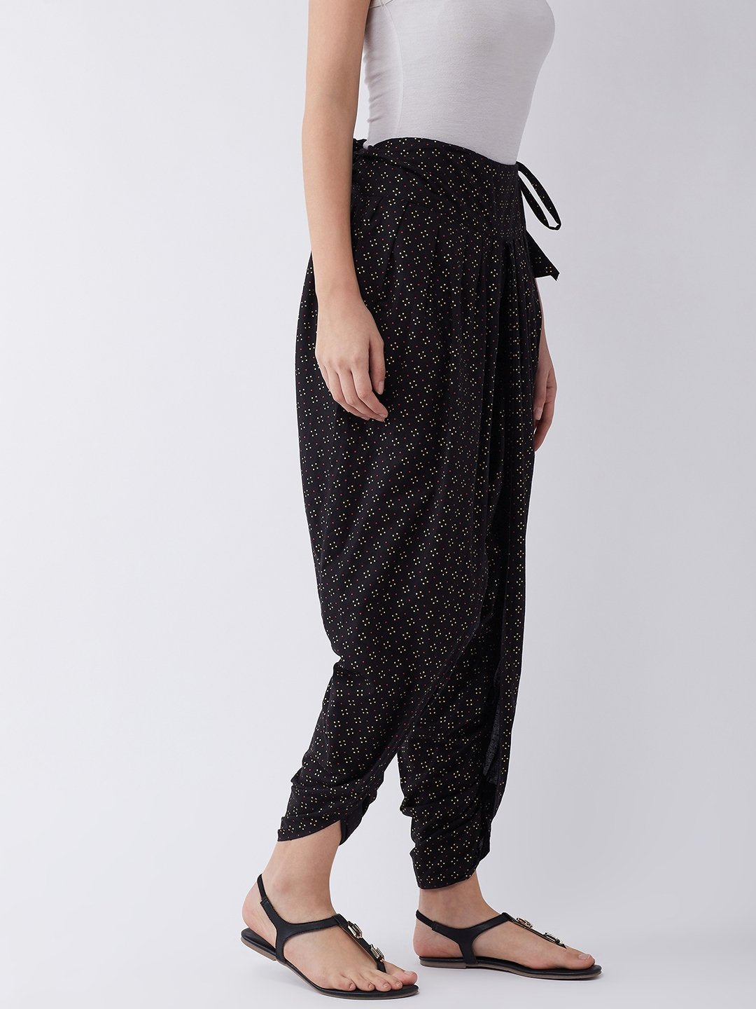 Black Gold Pin Dot Dhoti