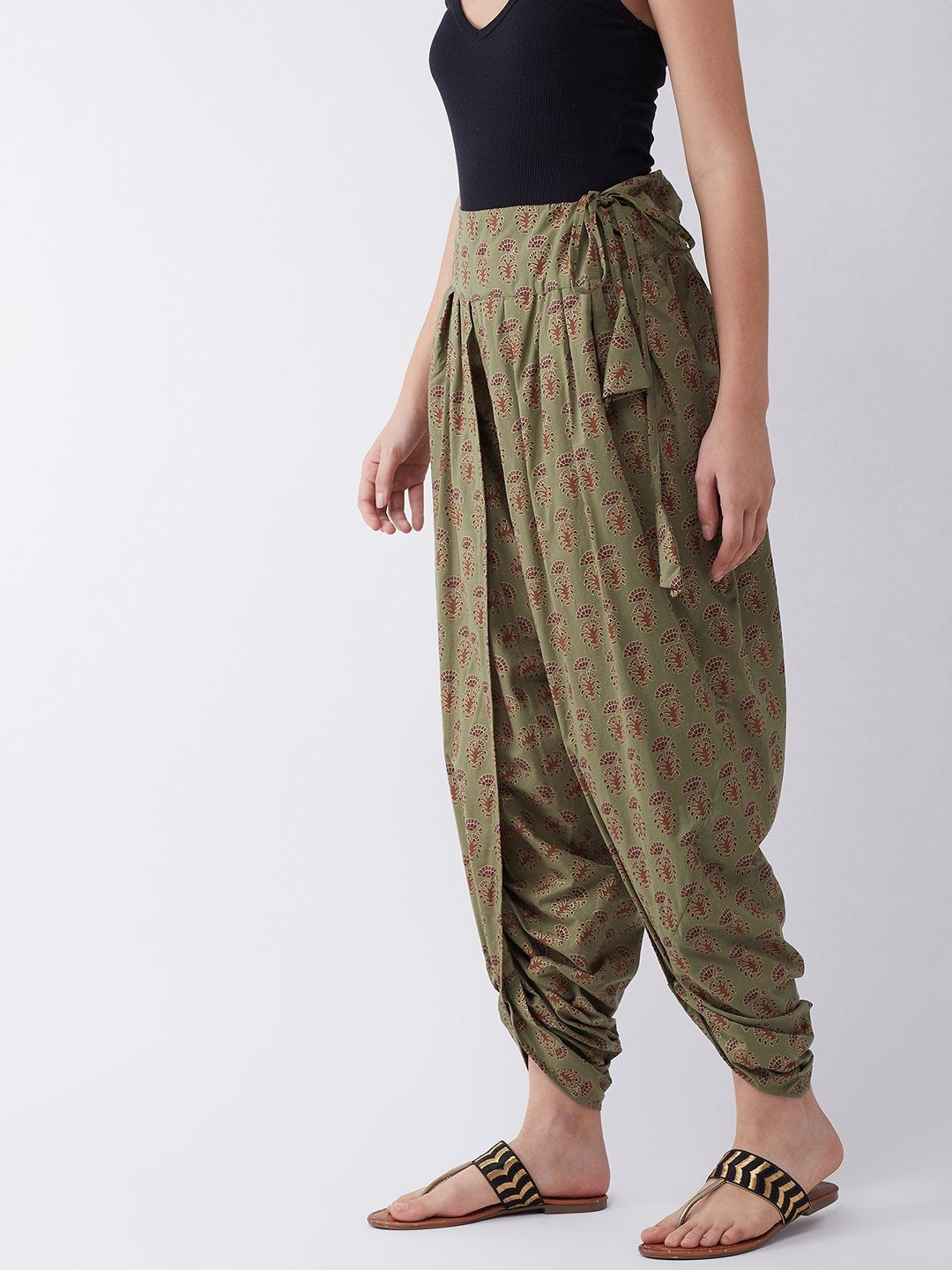 Green Dhoti with Ethnic Motifs