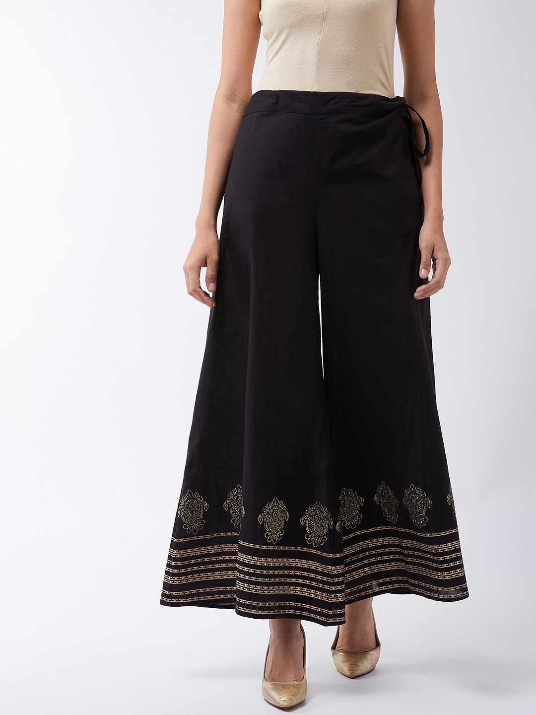 Black Palazzo With Block Print Motif
