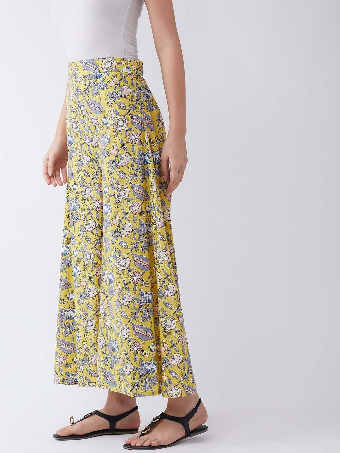 Summer Yellow Grey Buta Culottes
