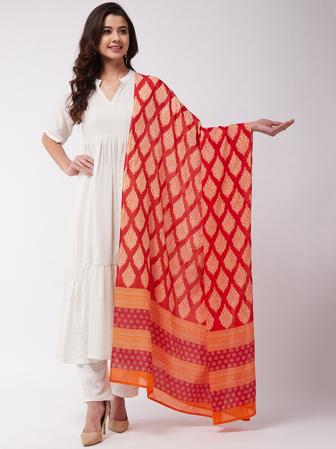 Red -Orange Cotton Dupattas