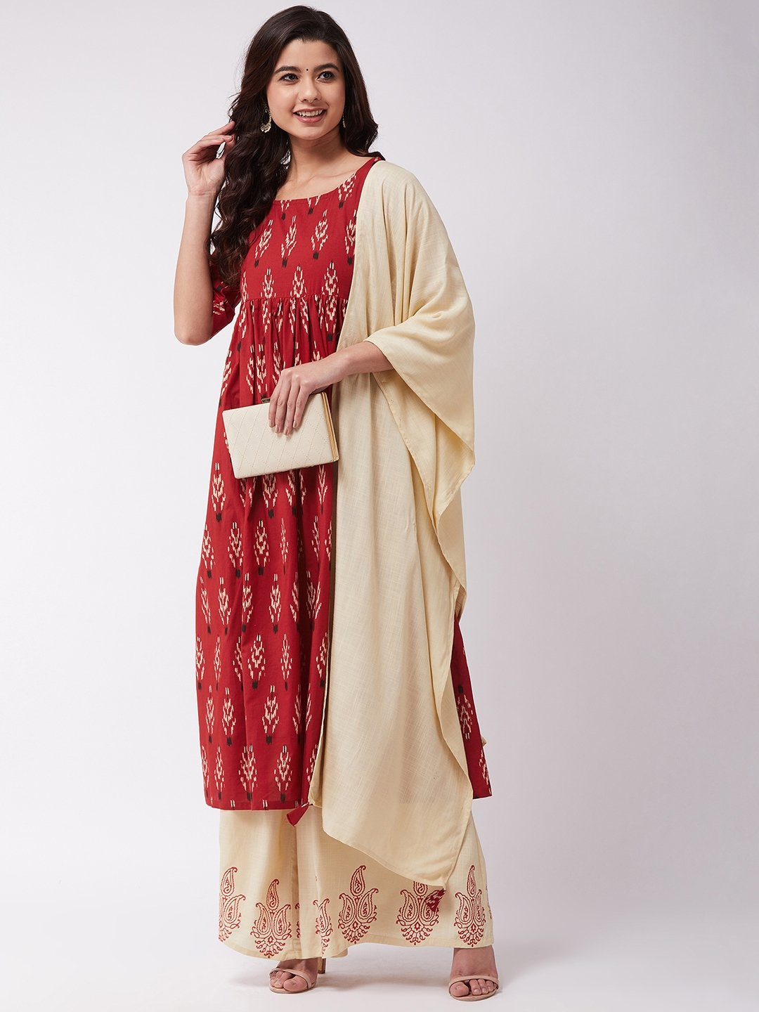Off White Dupatta With Tassel