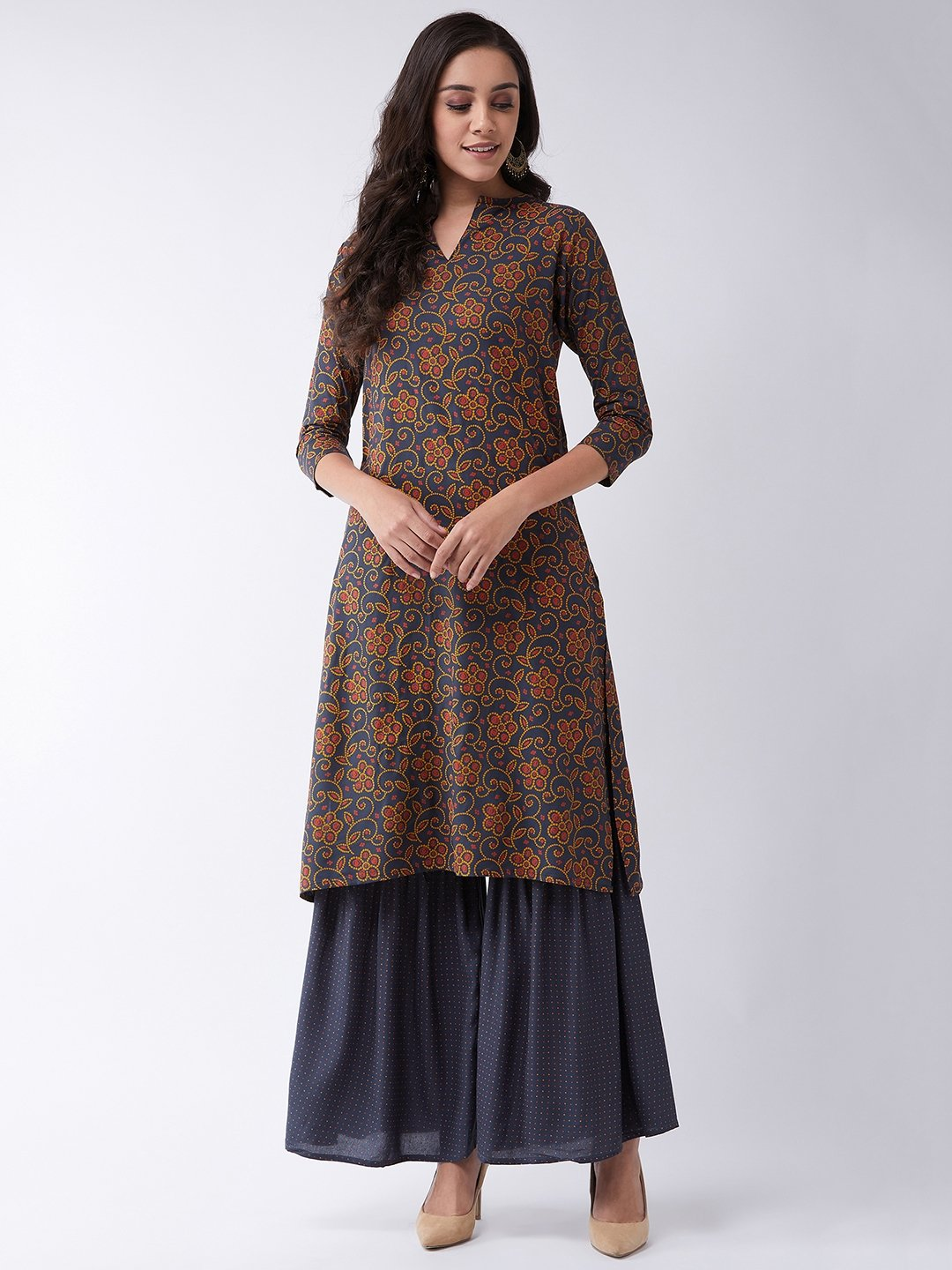 Dark Grey Printed Sharara