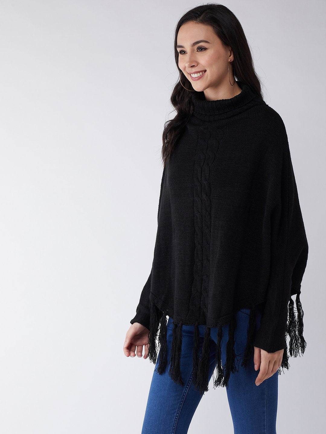 Black High Neck Poncho