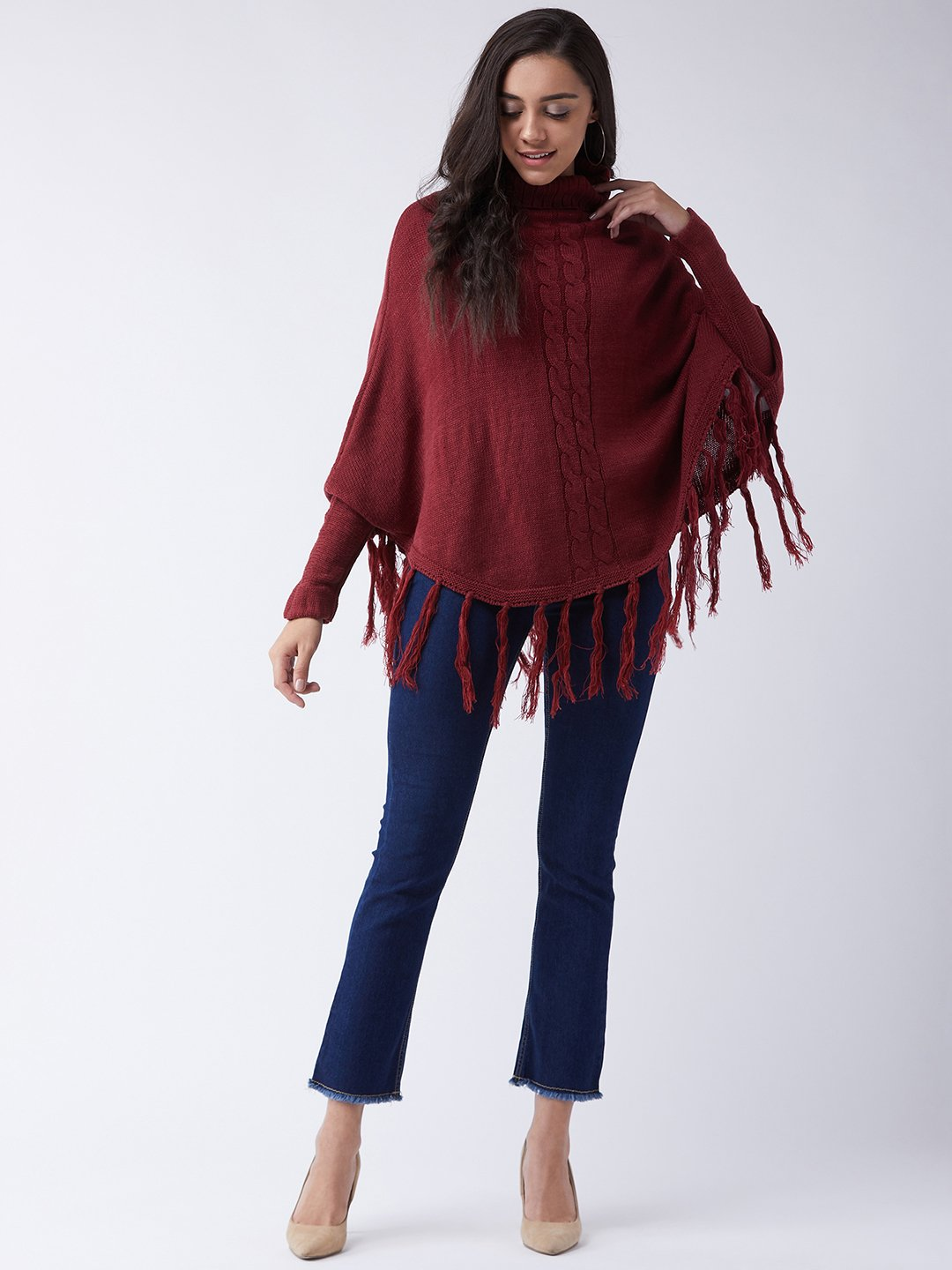 Maroon High Neck Poncho
