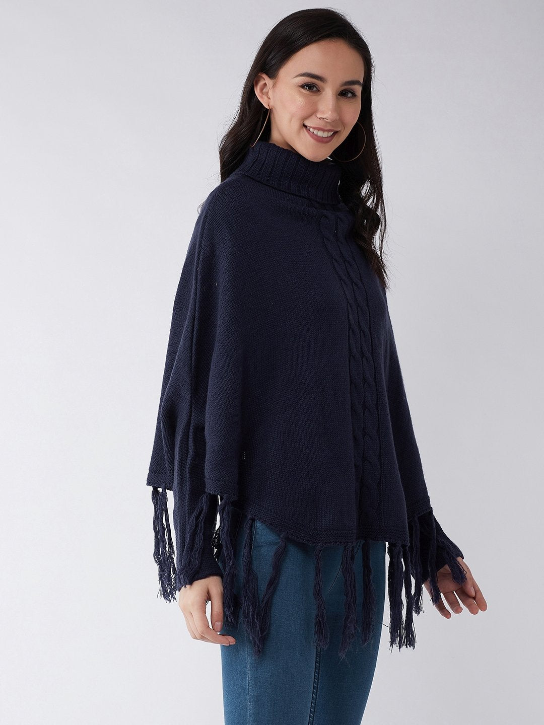 Blue High Neck Poncho